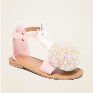 Old Navy Faux Suede Unicorn Pom Pom Pink Sandals 8